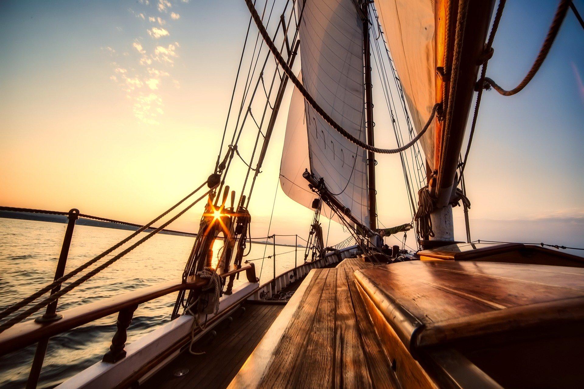 Sunset sailing on a luxury sailing yacht