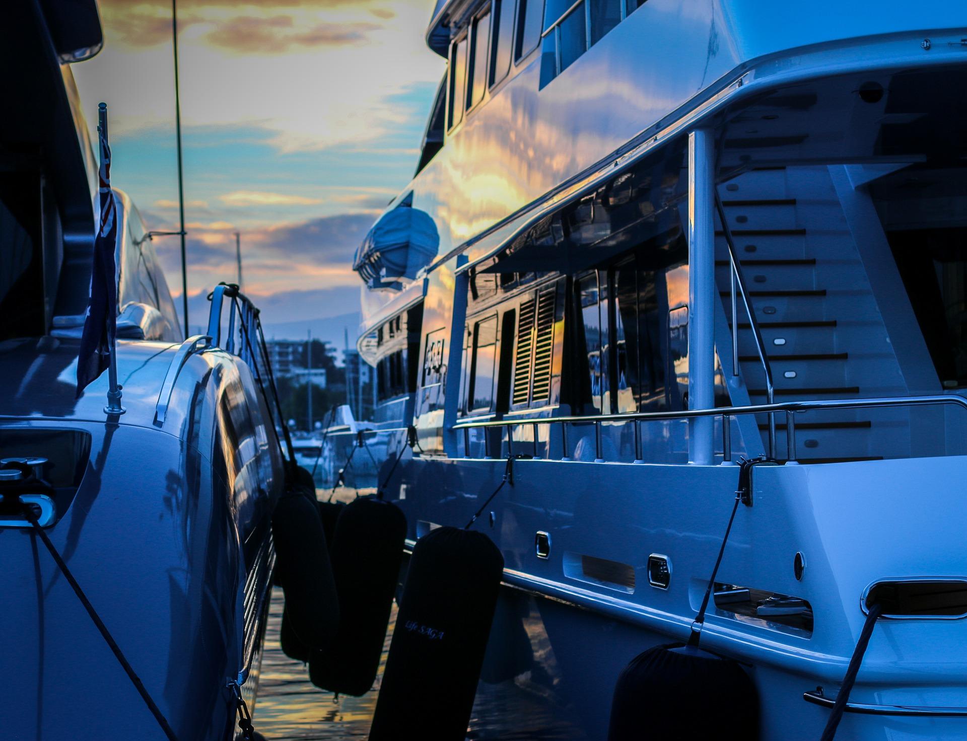 harbour docked luxury yacht